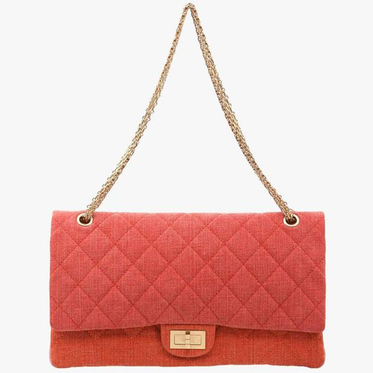 Orange Chanel 2.55 Reissue Double Flap Maxi Classic Limited Edition Red Pink Linen Bag For Sale