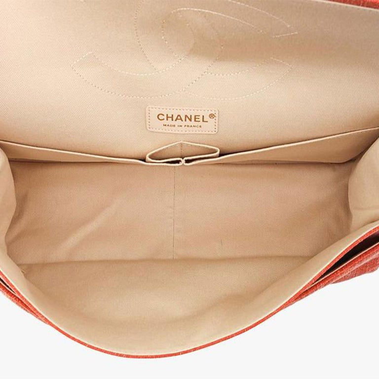 Chanel 2.55 Reissue Double Flap Maxi Classic Limited Edition Red Pink Linen Bag For Sale 1