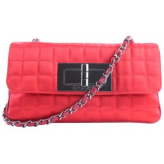 Chanel 2.55 Reissue Jumbo Turnlock Flap 2cr0417 Red Quilted Satin Shoulder Bag