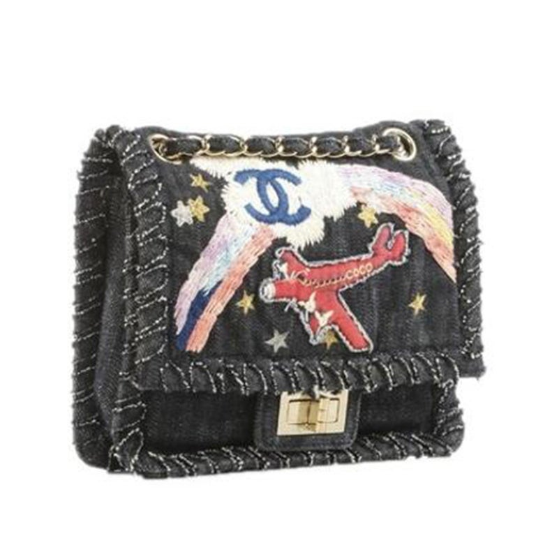 Chanel 2.55 Reissue Limited Edition Airplanes Flap Blue Denim Shoulder Bag In Good Condition For Sale In Miami, FL