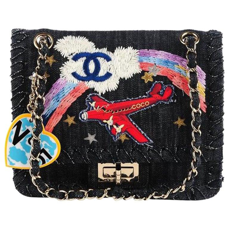 Chanel 2.55 Reissue Limited Edition Airplanes Flap Blue Denim Shoulder Bag For Sale