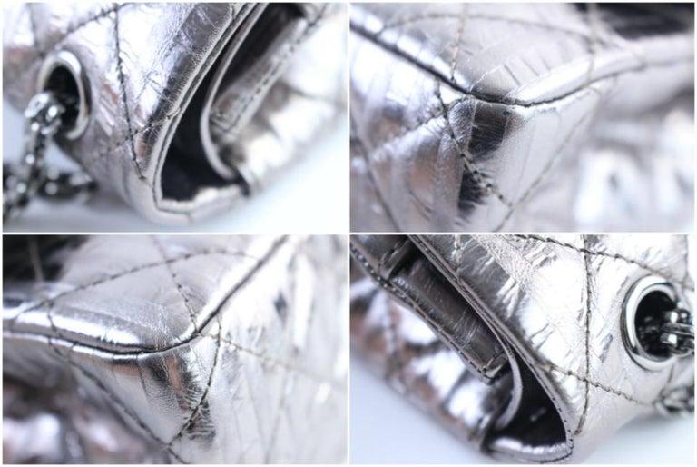 50e3542a45ac Chanel 2.55 Reissue Metallic 227 Jumbo Flap 3cr0417 Gunmetal Shoulder Bag  For Sale 2