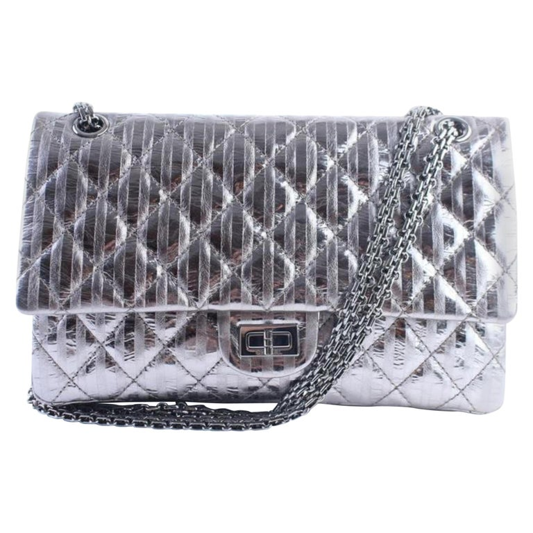 d3ea1471b11e Chanel 2.55 Reissue Metallic 227 Jumbo Flap 3cr0417 Gunmetal Shoulder Bag  For Sale