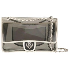 Chanel 2.55 Reissue Transparent Classic Heart Flap Vintage White Grey Clear Bag