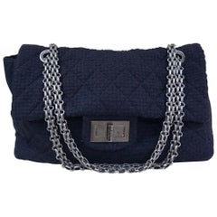 Chanel 2.55 Reissue Xxl Quilted Maxi Jetsetter Black Tweed Shoulder Bag