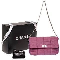 Chanel 2.55 single flap in purple fabric, silver color strap, never worn