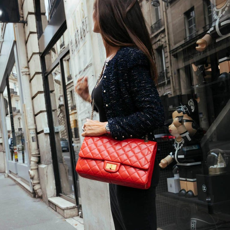 CHANEL 2.55 Smooth Copper Lambskin Bag For Sale 9