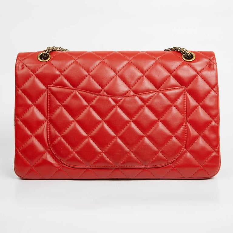 Red CHANEL 2.55 Smooth Copper Lambskin Bag For Sale