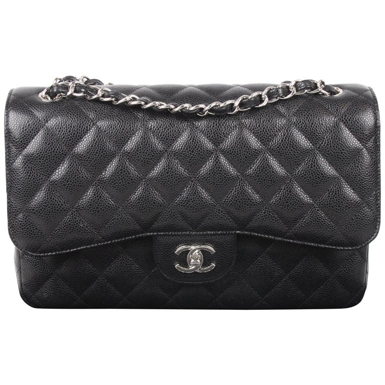 Chanel 2.55 Timeless 2018 black caviar leather/silver    For Sale