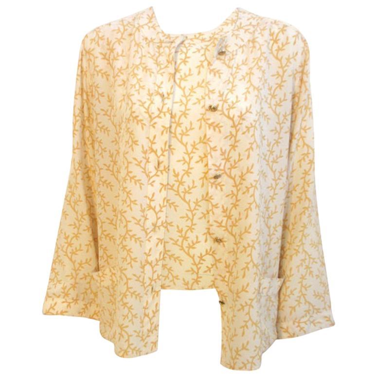 Chanel 2pc Cream/Yellow Silk Blouse and Tank Set