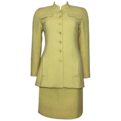 Chanel 2PC Yellow Skirt Suit w/  Mandarin Collar Circa 1990s