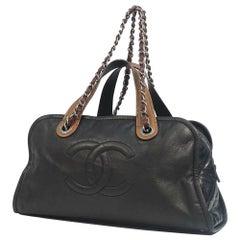 CHANEL 2WAY chain shoulder  Womens handbag black x silver hardware