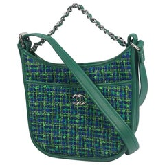 CHANEL 2WAY hand chain shoulder bag green x silver hardware