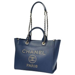 CHANEL 2WAY shoulder bag Deauville stats chain tote Womens tote bag Navy x gold