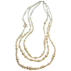 Chanel 3 Strand Long Pearl Necklace, 2018