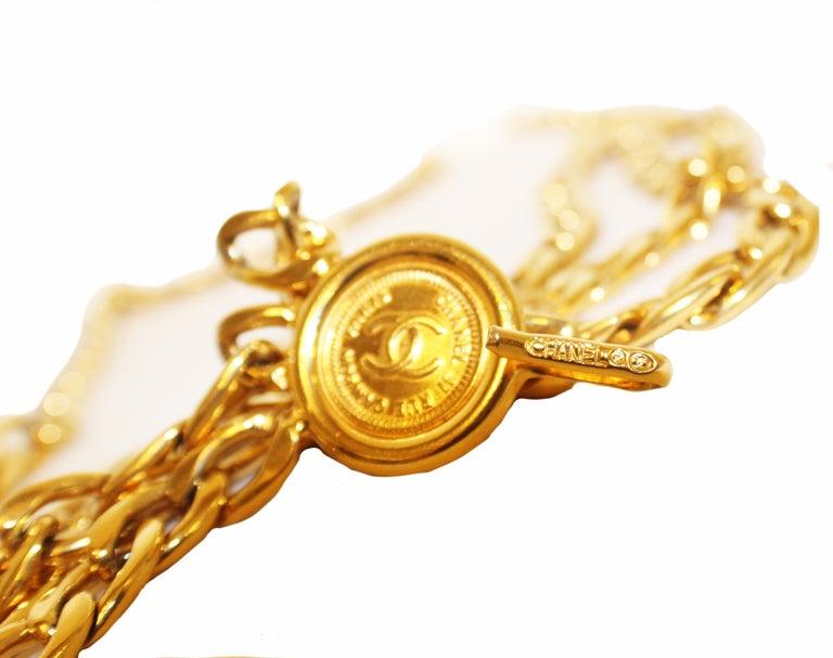 Chanel 31 Rue Cambon drei Münzen Kette Link Gürtel aus den 80er Jahren  2