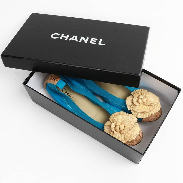 Chanel 39,5 Fr Flat Blue Ballerina Shoes For Sale 5