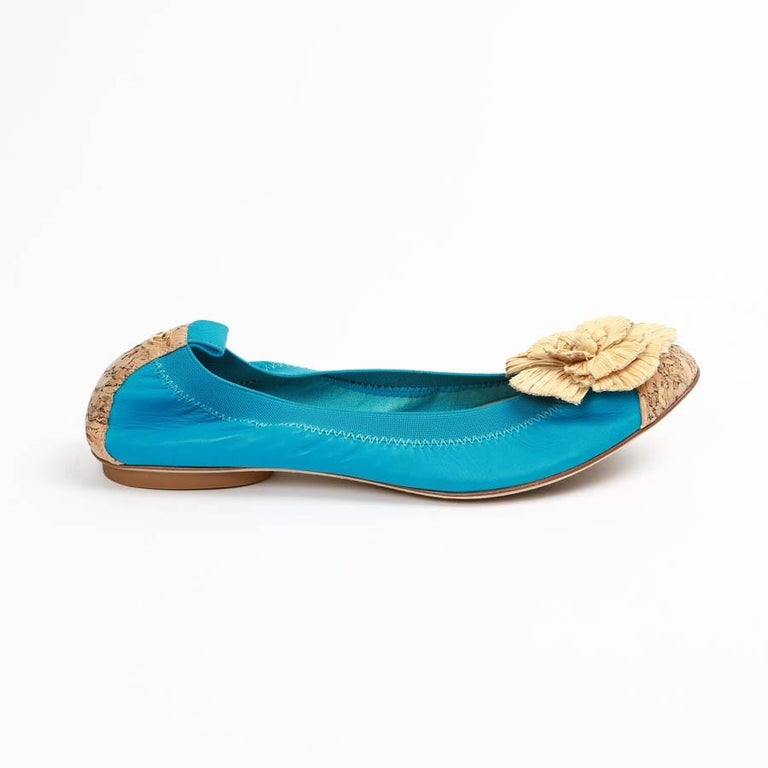 Chanel 39,5 Fr Flat Blue Ballerina Shoes For Sale 2