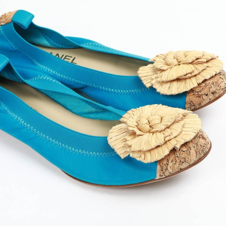 Chanel 39,5 Fr Flat Blue Ballerina Shoes For Sale 4