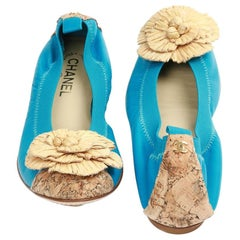 Chanel 39,5 Fr Flat Blue Ballerina Shoes