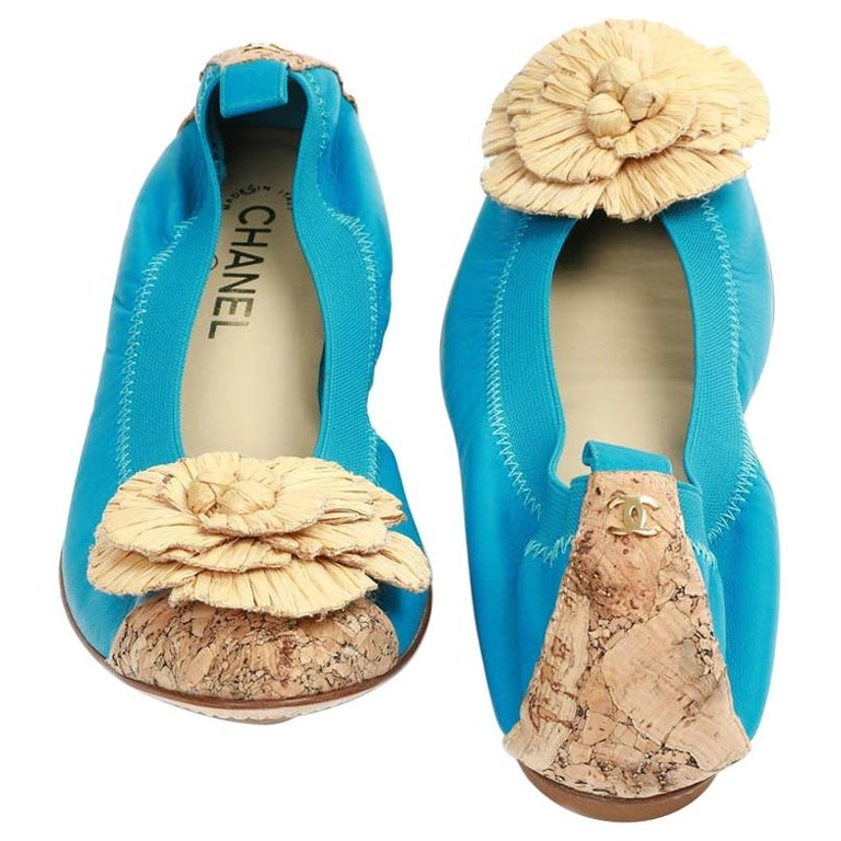 Chanel 39,5 Fr Flat Blue Ballerina Shoes For Sale