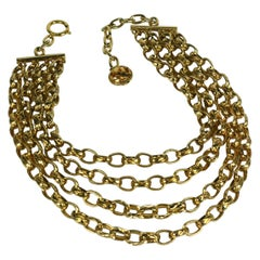 Chanel 4 Strand Textured Chain Necklace