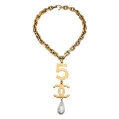 Chanel 5 CC Long Drop Necklace