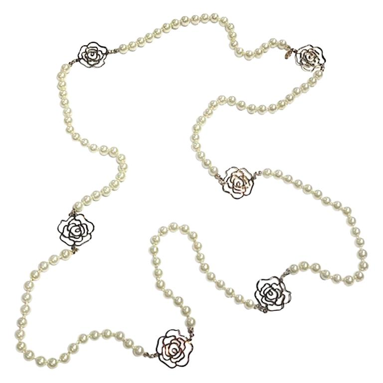 """Chanel 63"""" Long Pearl & Camelia Necklace, 2012 Collection For Sale"""