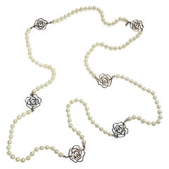 "Chanel 63"" Long Pearl & Camelia Necklace, 2012 Collection"