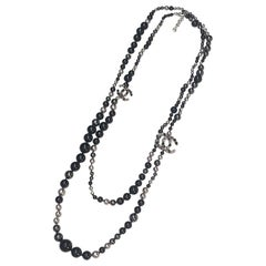 """Chanel 70"""" Silver, Black & Grey Pearl Long Necklace, 2018 Vacation Collection"""