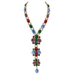 Chanel 70s Gripoix Multicolor Necklace
