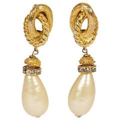Chanel 70s Pearl Dangle Earrings