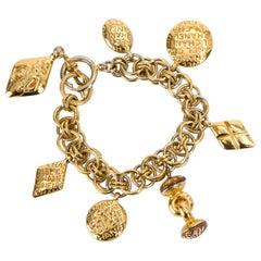 Chanel 70's Vintage Charm Seals Gold Bracelet