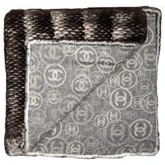 "Chanel 78.5"" Orylag Rabbit Fur & CC Cashmere Stole/Throw Blanket"