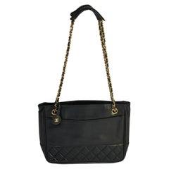 Chanel 80s Black Vintage Leather Shoulder Chain Bag