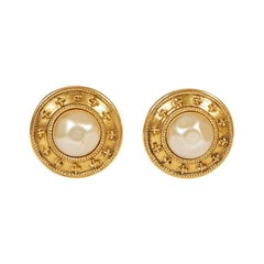 Chanel 80s Pearl Round Clip Earrings