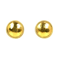 Chanel '80s Vintage Goldtone Hammered Clip On Earrings