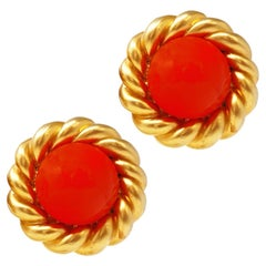 Chanel 80s Vintage Oversized Statement Earrings w/ Coral Gripoix Glass Cabochons