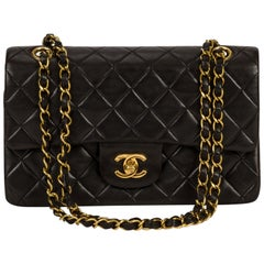 "Chanel 9"" Black Classic Double Flap Bag with Gold Hardware"