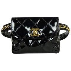 "Chanel '90 Vintage Black Patent Quilted CC Twistlock Belt Bag sz 26""-28"""