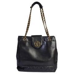 Chanel 90s Black Large Vintage Leather Shoulder Bag
