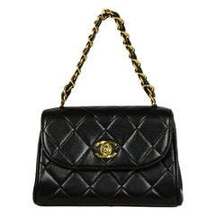 Chanel '90s Black Vintage Quilted Mini Flap Bag with Leather Laced Handle