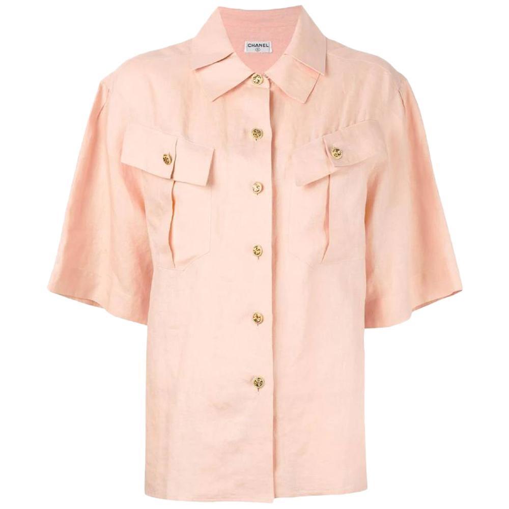 Chanel 90s Pink Linen Shirt