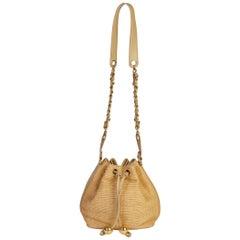 Chanel 90s Rare Raffia Beige Bucket Bag