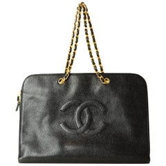 Chanel '90s Vintage Black Caviar Leather CC Timeless Portfolio Tote Bag