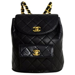 Chanel '90s Vintage Black Quilted Lambskin Leather CC Twistlock Backpack Bag