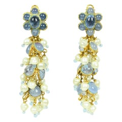 Chanel '90s Vintage Blue Gripoix & Faux Pearl Statement Earrings
