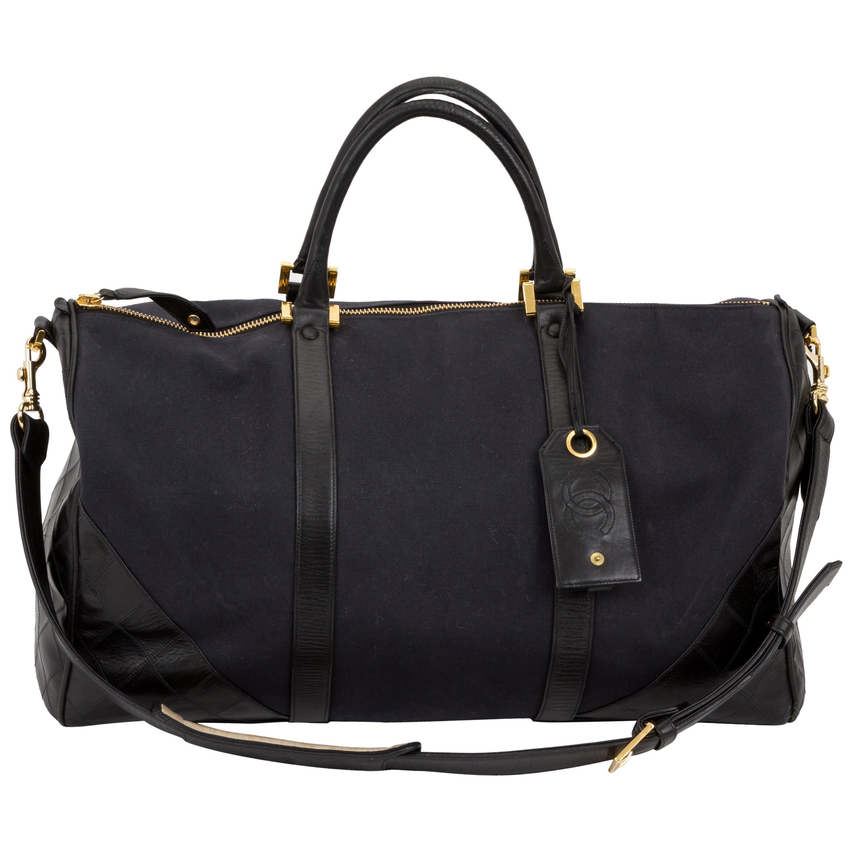 Chanel 90s Vintage Canvas & Leather Duffle Bag