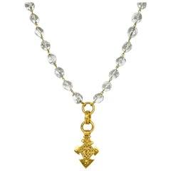Chanel '90s Vintage Goldtone CC Pendant Necklace w/ Clear Beads