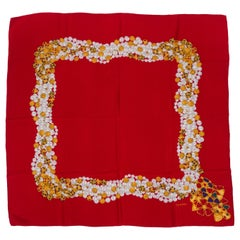 Chanel 90s Vintage Red Silk Pearls Twill Scarf
